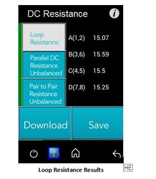 Loop Resistance screen